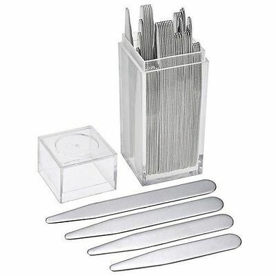 40 count 20 pairs Metal Collar Stays Men 4 Various Sizes In Clear Plastic Box