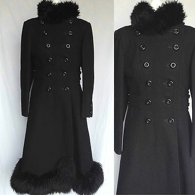 Vintage 60s 70s Mod Hippie Black Wool Faux Fur Trim Russian Princess Coat S UK 8