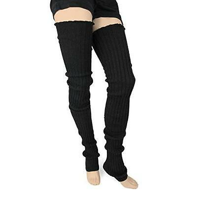 Super Long Cable Knit Leg Warmers (One Size, Black) New