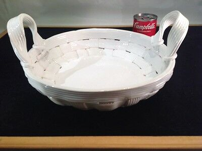 """Vintage Capodimonte Large White Weave Two Handle Basket 14"""" Wide Made In Italy"""