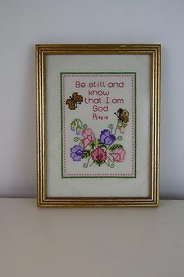 Vintage Worked Cross Stich Bible Quote