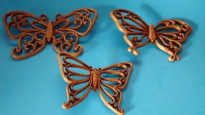 Vtg HOMCO butterfly wall hangings 3 piece set