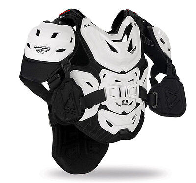 Fly Racing 5.5 Pro Mens White Off Road Dirt Bike Motocross Chest Protectors