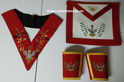 Masonic Rose Croix 18th Degree Apron, Gauntlets and Collar Set