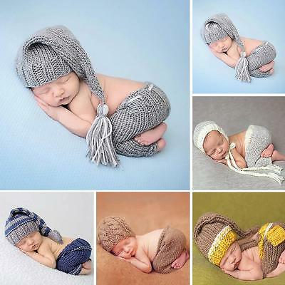 Cute 0-4 Months Newborn Baby Boys Girls Crochet Knit Costume Photo Props Outfit
