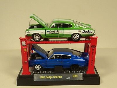 M2 Machines AUTO LIFT 1:64 1966 Dodge Charger Diecast car model 2 PACK