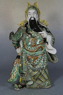 Beautiful Chinese famille rose porcelain statues guangon(关公)
