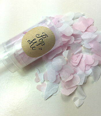 Confetti Push Pop Biodegradable Hearts White and Pink Wedding
