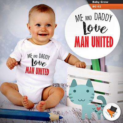 ME AND DADDY LOVE MAN UNITED BABY GROWS SUIT boys bodysuit MAN UTD VEST NEW P&P!