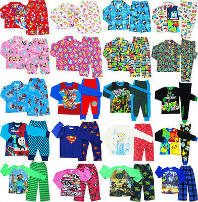 New Size 1-16 Kids Pyjamas Winter Boys Girls Sleepwear Paw Tee Pjs Nighties Top