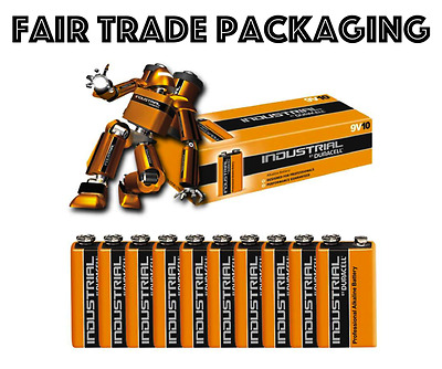 10 x Duracell Industrial 9V PP3 Block Alkaline Batteries MN1604 Replaces Procell