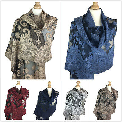 New Ladies Womens Mesh Leaf Print Neck Pashmina Scarf Wrap Shawl Stole Scarves