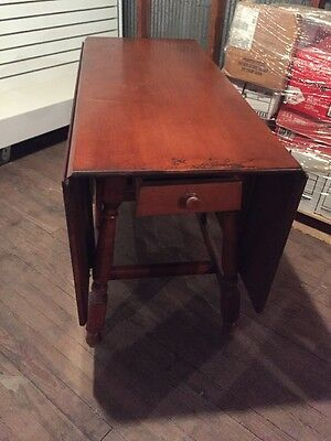 Vintage  Drop Leaf Table Drawer Kitchen Wood  Collectible Home Decor