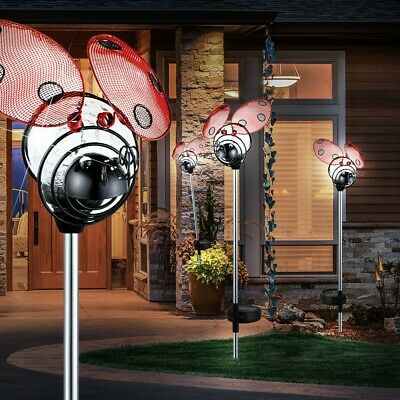Set of 4 LED Ladybug spike solar lights outdoor lights garden plug IP44 modern