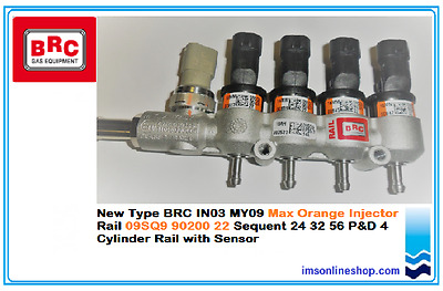 Rail of 4 BRC IN03 MY09 Max Orange Injector 09SQ9 90200 22 Sequent 24 32 56 P&D