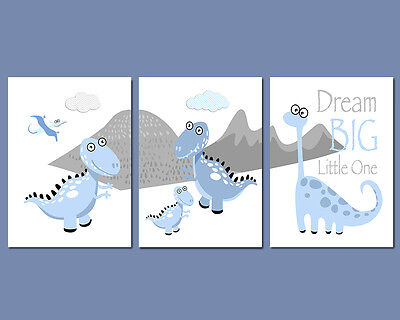 3 Wall Art Nursery Prints Dinosaur Pictures Dream Big Little One Blue & Grey