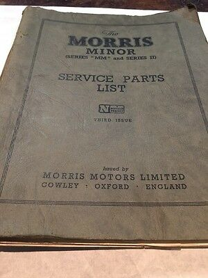 Vintage Service Parts List Morris Minor Series Mm And Series Ii 3Rd Issue