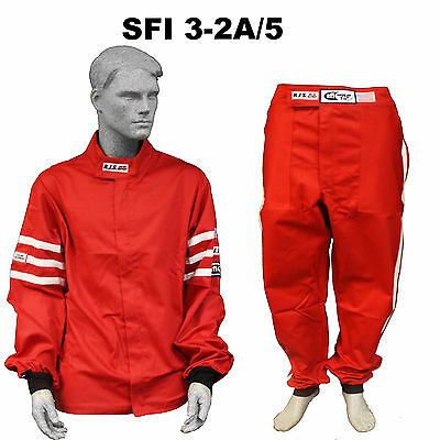 Fire Suit Sfi 3-2A/5 Jacket & Pants 2 Pc 2 Layer Classic Red Medium Rjs Racing