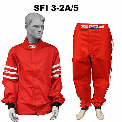 Fire Suit Sfi 3-2A/5 Jacket & Pants 2 Pc 2 Layer Classic Red 4X Rjs Racing Xxxxl