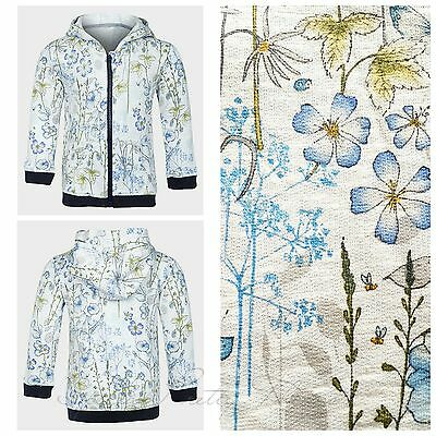 SALE!! EX Next Baby Girls White Blue Floral Print Hoodie Jacket 3-24 Months NEW