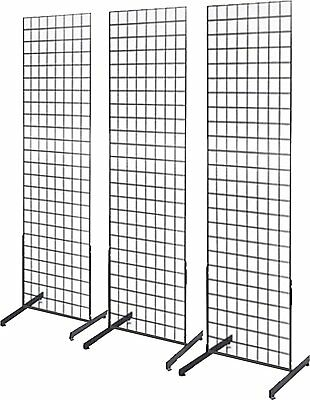 Gridwall Panel Tower with T-Base Floorstanding Display Kit, 3-Pack Black 2'x5'