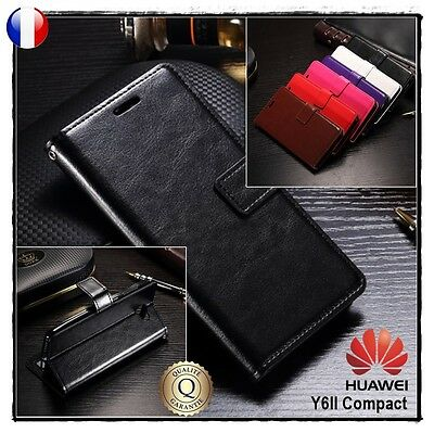 Etui porte cartes coque housse cuir PU leather Wallet case HUAWEI Y6 II Compact