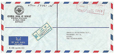"""KUWAIT - Official Meter Cover to HOLAND - """" Central Bank of KUWAIT"""" - Registered"""