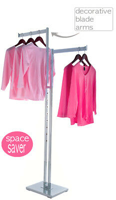 2 Way Clothing Rack With Two Straight Blade Arms | Chrome