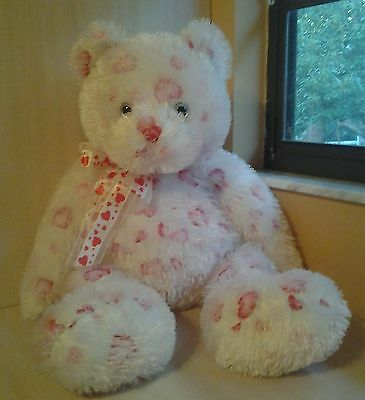 "Ty Punkies BIG HUGZ 28"" Plush Over 2 Feet White Teddy Bear Hearts All Over NWOT"