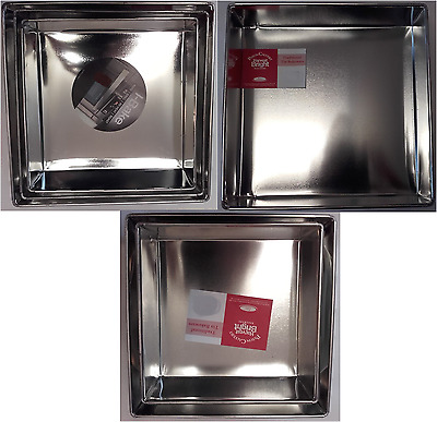 "Set of 8"" 9"" 10"" 11"" 12 "" metal square cake tin tins"