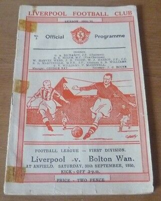 Liverpool v Bolton Wanderers, 1950/51 - Division One Match Programme.
