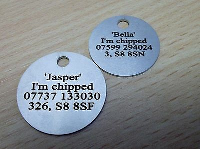 Personalised Engraved Pet Cat Dog Kitten Puppy Identity Disc, Id Discs, Id Tags