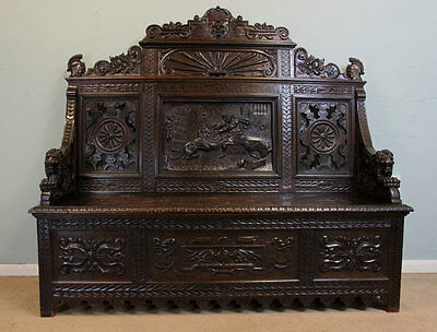 Antique Victorian Carved Oak Box Settle / Monks Bench, Hall Seat / Pew