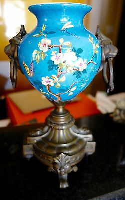 Gorgeous 19Th C French  Urn Vase Bronze Base Porcelain Butterflies Birds