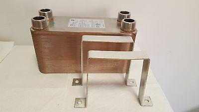 "NEW! 90 Plate Water to Water Plate Heat Exchanger - 1 1/4"" MPT Ports W/Brackets"