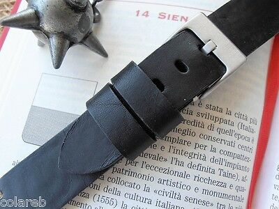 20mm ColaReb SIENA black Italian Vintage genuine leather watch band bracelet