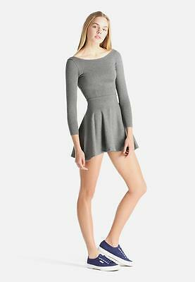 a5c2810cf2 American Apparel Ponte Long Sleeve Skater Dress Dark Hthr Grey Small  rsapo314 J