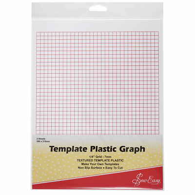 Sew Easy Template Plastic Graph, pk of 2 Sheets, 280 x 215mm - Printed with 7...