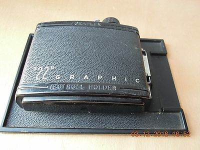 "Graflex.L'ancien dos fim120 pour""22""Graphic.Vintage rollholder for 4""X5"" Graphic"