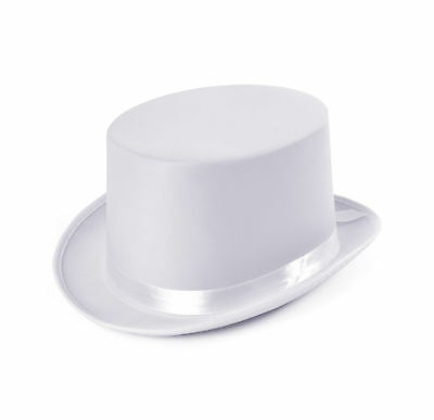 New White Satin Look Top Hat