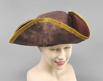 FANCY DRESS Brown Distressed Tricorn Hat