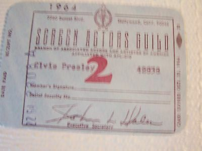 Elvis Presley Screen Actors Guild Card Dated Oct. 31, 1964 Mint Condition