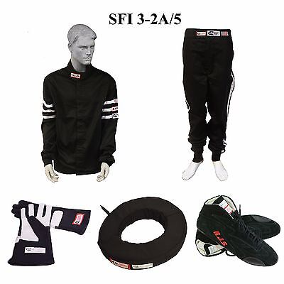Driving Suit Package Sfi 3-2A/5 2 Layer Rjs Race Suit Gloves Shoes Collar Black