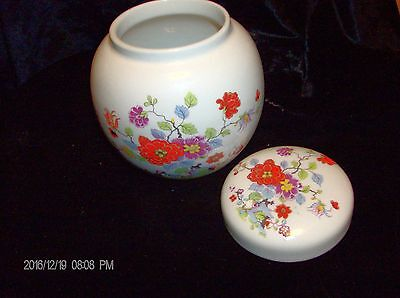 Sadler England china ginger jar oriental flower design circa 1950 5 x5 in.