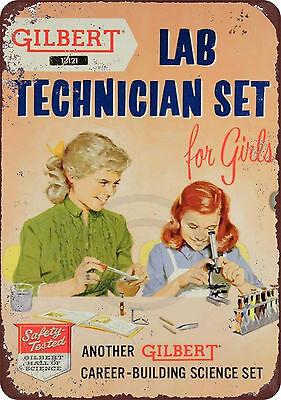 1958 Lab Technician Set for Girls Reproduction Metal Sign 8 x 12