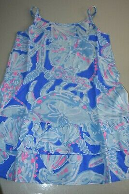 44a46f5eb17dc3 New Lilly Pulitzer GIRLS ARELLA RUFFLE Cotton DRESS Bay Blue Into the Deep  L S M