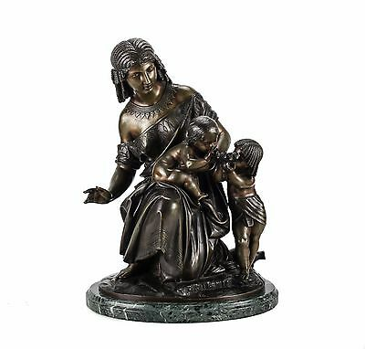 French Bronze Figural Group of Egyptian Woman with Infant by Francois Moreau