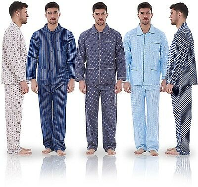 Mens Classic Long Sleeve Pyjama Set PJ'S Cotton Lounge Wear