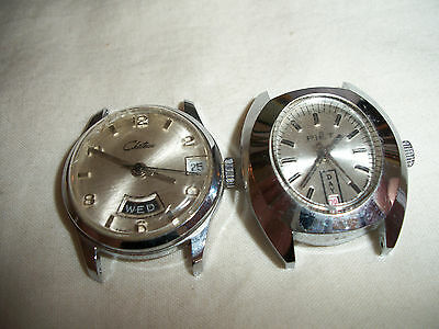 Lot Of 2 Vintage Wind Up Ladies Watches Work Chateau Swiss & Piet Israel No Band