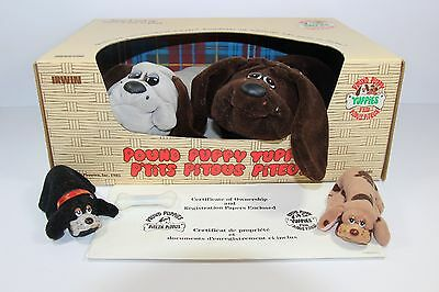 Rare Vintage IRWIN Pound Puppy Yuppies plush 1985 4 dogs with box